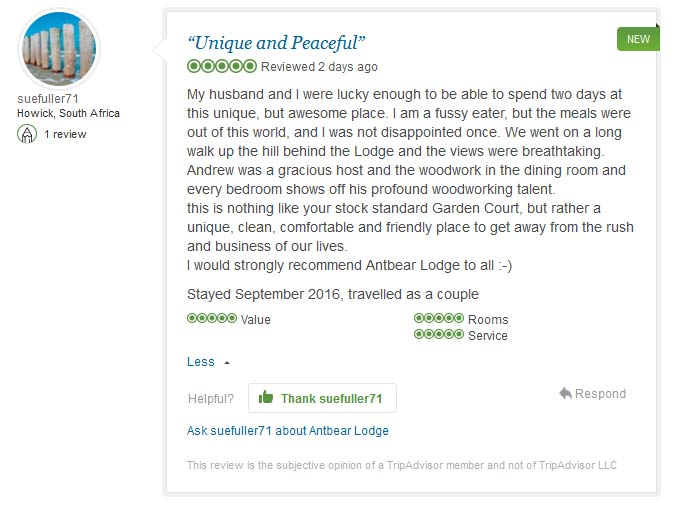 Antbear Lodge customer review